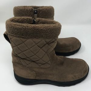 LL Bean Suede & Felt Quilted Lined Bootie/Boots